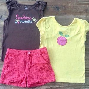 Gymboree lot 3 peaches, sun bling  shirts, shorts
